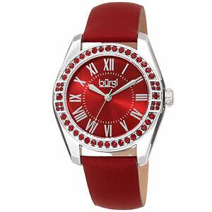 【送料無料】腕時計 バールスワロフスキークリスタルレッドレザーストラップウォッチ womens burgi bur206rd quartz swarovski crystal red leather strap watch