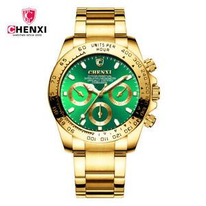 【送料無料】腕時計 ゴールドトップファッションゴールデンクォーツchenxi gold wrist watch men watches top luxury fashion golden quartz wristwa