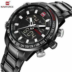【送料無料】腕時計 スポーツメンズメンズデュアルデジタルフルスチールsport watches luxury mens mens dual display led digital waterproof full steel