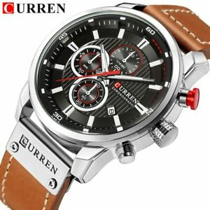 【送料無料】腕時計 スポーツクロノグラフレザーwatches men luxury curren chronograph men sport watches high quality leather