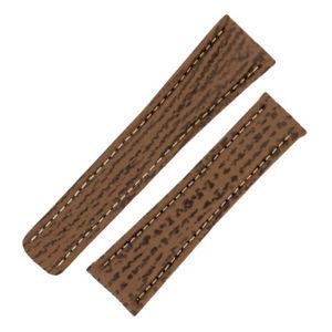 【送料無料】腕時計 サメハニーブラウンウォッチストラップオプションgenuine sharkskin deployment watch strap in honey brown optional clasps