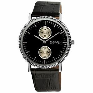 【送料無料】腕時計 シュタイナースリムクォーツブラックレザーストラップウォッチ