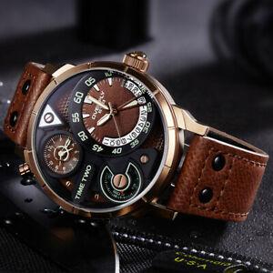 【送料無料】腕時計 ブランドタイムゾーンファッションスポーツbig luxury brand watch two time zones fashion sport waterproof men gifts for him