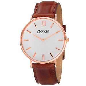 【送料無料】腕時計 シュタイナーメンズストラップmens august steiner as8166rgbr ultra slim quartz genuine leather strap watch