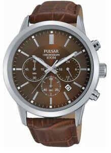 【送料無料】腕時計 パルサークロノグラフレザーストラップウォッチpulsar gents chronograph leather strap watch pnp os pt3739x1