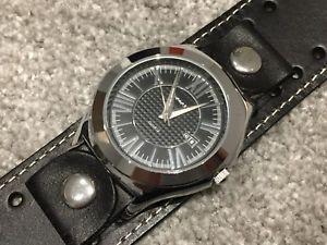 【送料無料】腕時計 ライバルブラックレザーカフメンズウォッチ
