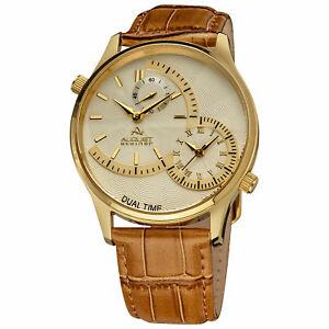 【送料無料】腕時計 シュタイナークォーツデュアルタイムブラウンレザーストラップ mens august steiner as8010yg quartz dual time brown leather strap watch