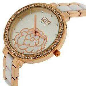 腕時計 レディースラインストーンベゼルローズトーンメタルホワイトブレスレットストラップウォッチeton ladies rhinestone bezel rose tone metal amp; white bracelet strap watch 32