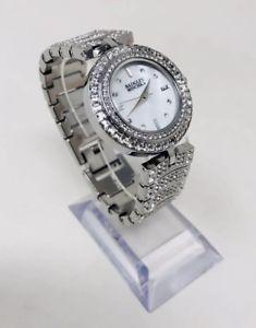 【送料無料】腕時計 シルバートーンクリスタルウォッチbadgley mischka ba1371mpsv womens 32mm silvertone crystal watch