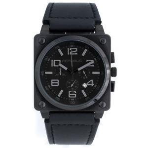 【送料無料】腕時計 メンズステンレススチールブラックレザーストラップクロノ