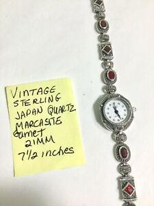 【送料無料】腕時計 ビンテージスターリングガーネットブレスレットvintage ladys sterling quarz garnet bracelet wristwatch