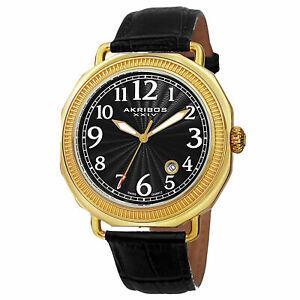 【送料無料】腕時計 メンズスイスクオーツブラックレザーストラップウォッチ