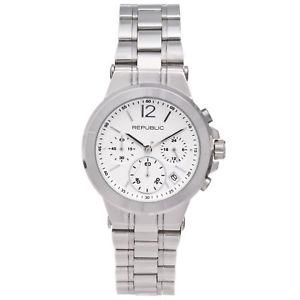 【送料無料】腕時計 ステンレススチールクロノグラフrepublic womens stainless steel runway chronograph watch rp1091