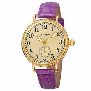 【送料無料】腕時計 クォーツゴールドトーンパープルレザーストラップウォッチwomens akribos xxiv ak828pu quartz goldtone bright purple leather strap watch