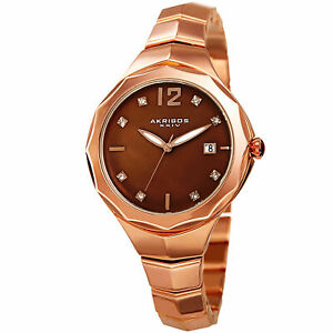 【送料無料】腕時計 パールカボションリューズwomens akribos xxiv ak932rgbr brown mother of pearl cabochon crown date watch