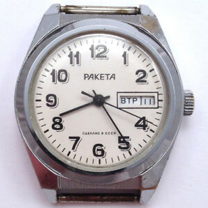 【送料無料】腕時計 ビンテージソゼンマイソ#vintage soviet raketa windup watch dayamp;date ussr 1980s, cal2628 *us seller* 671
