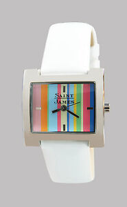 【送料無料】腕時計 セントジェームスシルバーストーンウォッチホワイトストラップsaint james womens silvertone watch w white patent strap and unworn
