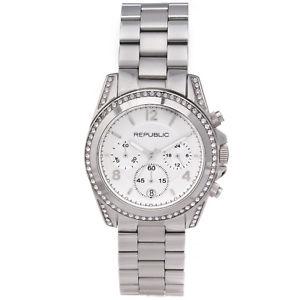 【送料無料】腕時計 ステンレススチールクロノグラフrepublic womens stainless steel glitz chronograph watch rp1092