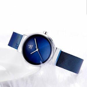 【送料無料】腕時計 ステンレススチールwomens blue stainless steel luxury