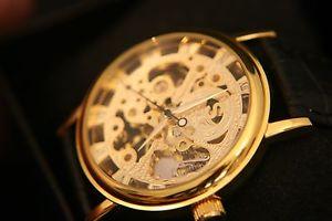 【送料無料】腕時計 ゴールドメンズローマスケルトンマニュアルbeautiful gold mens roman numeral skeleton manual wind wristwatch, leather