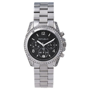 【送料無料】腕時計 ステンレススチールクロノグラフrepublic womens stainless steel glitz chronograph watch rp1093