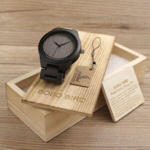 【送料無料】腕時計 ボボメンズブラックエボニーウッドウォッチクオーツリンク