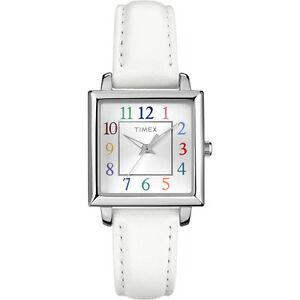 【送料無料】腕時計 シルバーストーンホワイトレザーマルチカラースクエアウォッチ timex silver tone,white leather,multi color numbers,square watcht2p377