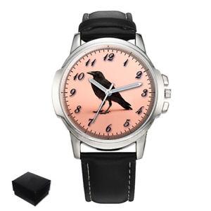 【送料無料】腕時計 カラスカラスカラスコルネイユメンズcrow, raven, krhe, corneille, corbaeu mens wrist watch engraving