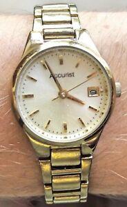 【送料無料】腕時計 ブレスレットウォッチladies gold plated accurist quartz bracelet date watch working