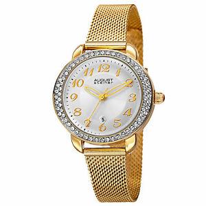 【送料無料】腕時計 シュタイナークリスタルベゼルメッシュブレスレットクオーツwomens august steiner as8192yg crystal bezel date mesh bracelet quartz watch