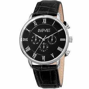 【送料無料】腕時計 シュタイナータイムゾーンレザーウォッチmens august steiner as8214ssb two time zone date complication leather watch