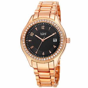 【送料無料】腕時計 バールスワロフスキークリスタルウィンドウローズトーンブレスレットwomens burgi bur135rg swarovski crystal date window rosetone bracelet watch