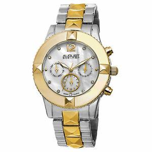 【送料無料】腕時計 シュタイナースイストーンウォッチ womens august steiner as8107ttg swiss quartz crystal mop twotone watch