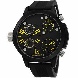 【送料無料】腕時計 メンズジョシュアトリプルタイムゾーンクォーツmens joshua amp; sons js40yl triple time zone military time date quartz watch