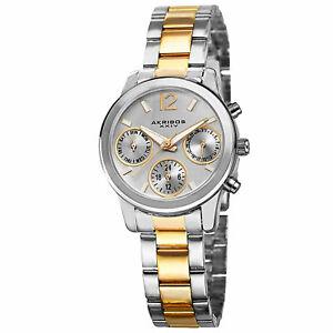 【送料無料】腕時計 スイスマルチファンクショントーンカラースチール womens akribos xxiv ak709ttg swiss multifunction twotone steel watch