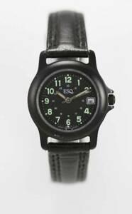 【送料無料】腕時計 レディースブラックレザークォーツステンレスブラックバッテリラウンドウォッチ