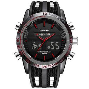 【送料無料】腕時計 ルマンメンズスポーツデジタルクォーツmans 47mm watch mens sports waterproof led digital quartz military gift leather