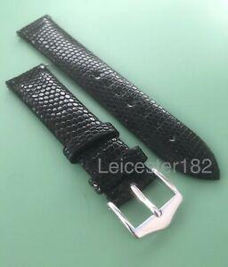 【送料無料】腕時計 リザードブラックウォッチストラップバックルサイズアンプオプション