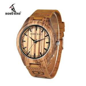 【送料無料】腕時計 ゼブラウッドクオーツクリスマスclassic zebra wooden watches quartz brand leather wedding xmas gifts for him dad
