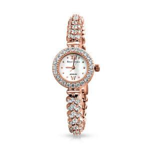 【送料無料】腕時計 ローズゴールドスチールシェブロンウォッチクラスタラウンドバック
