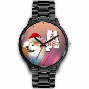 【送料無料】腕時計 クリスマスアラバマakita dog on christmas alabama wrist watchfree shipping