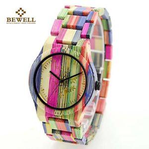 【送料無料】腕時計 ビーウェルハンドメイドカラフルbewell women wood watch 100 handmade natural colorful bamboo quartz wristwat