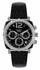 【送料無料】腕時計 クロノグラフブラックレザーウォッチストラップ