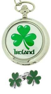 【送料無料】腕時計 クローバーシャムロックアイルランドアイルランドポケットウォッチカフスボタンクリスマスセット