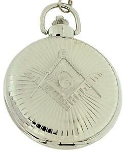 【送料無料】腕時計 メソニックシルバーストーンジャンボインチチェーンサイズポケットウォッチ