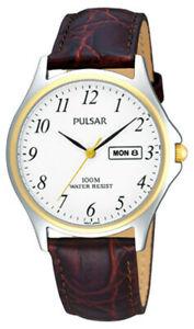 【送料無料】腕時計 パルサートーンレザーストラップpulsar gents two tone leather strap watch   pxf294x1pnp