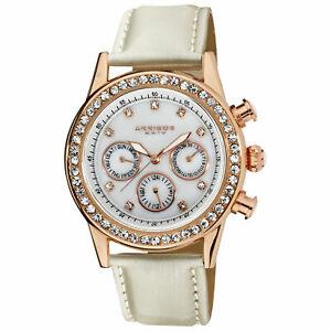 【送料無料】腕時計 #タイムゾーンベゼルレザーウォッチwomen039;s akribos xxiv ak556wtr two time zone quartz crystal bezel leather watch