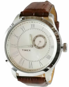 【送料無料】腕時計 ラウンドスチールメンズアナログブラウンレザーウォッチストラップtimex tw2r57000 mens analog round steel watch brown leather strap
