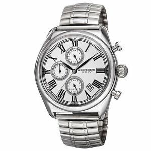 【送料無料】腕時計 マルチファンクションシルバートーンブレスレットmens akribos xxiv ak827ss multifunction silvertone expandable bracelet watch