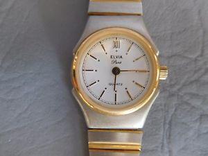 【送料無料】腕時計 ブレスレットメタルビコドーレファムelvia montre bracelet ancienne quartz metal bicolore gris dor femme women watch